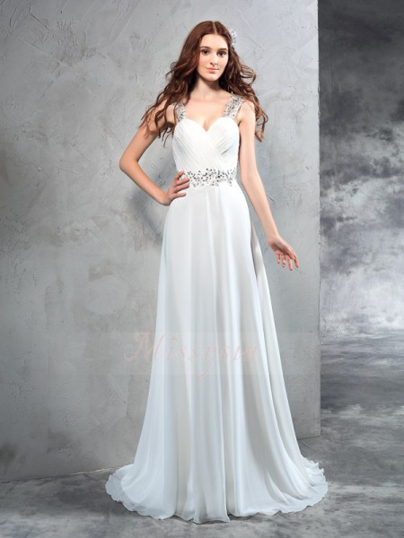 A-Line/Princess Chiffon Sweetheart Sleeveless Pleats Sweep/Brush Train Wedding Dresses