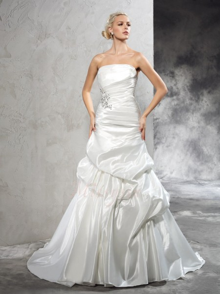 Sheath/Column Satin Strapless Sleeveless Pleats Court Train Wedding Dresses