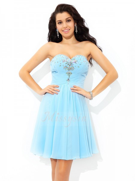 A-Line/Princess Chiffon Sweetheart Sleeveless Beading Short/Mini Cocktail Dresses