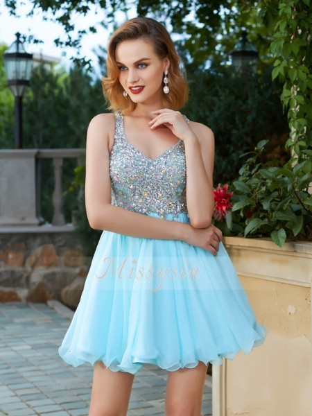 A-Line/Princess Short/Mini Rhinestone Straps Chiffon Sleeveless Dresses