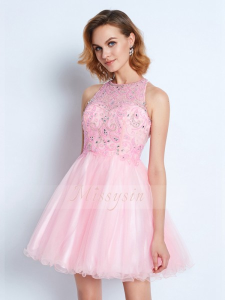 A-Line/Princess Sleeveless Short/Mini Ruffles Jewel Net Dresses