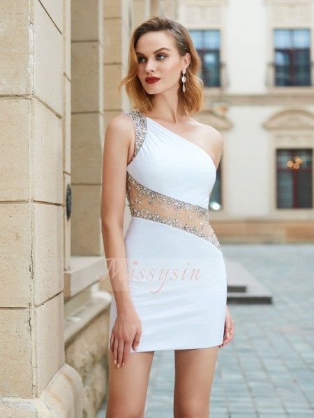 Sheath/Column One-Shoulder Short/Mini Sleeveless Beading Net Dresses