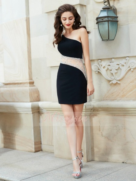 Sheath/Column Sleeveless Beading One-Shoulder Net Short/Mini Dresses
