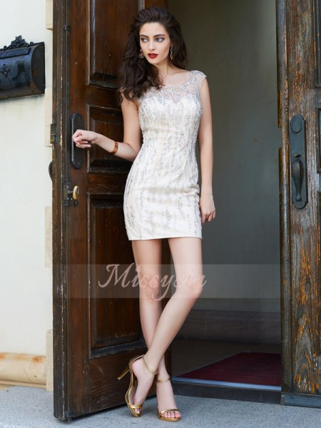 Sheath/Column Sleeveless Short/Mini Beading Scoop Net Dresses