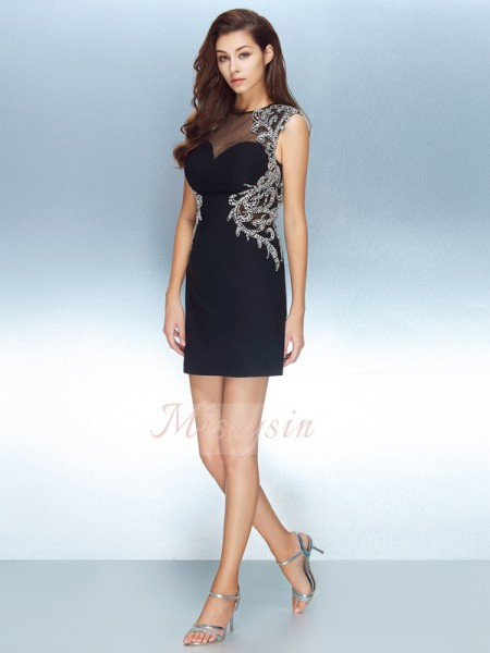 Sheath/Column Short/Mini Jewel Net Crystal Short Sleeves Dresses