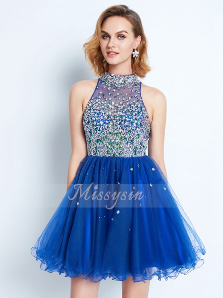 A-Line/Princess Sleeveless Short/Mini Ruffles High Neck Net Dresses