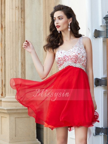 A-Line/Princess Short/Mini Beading Sleeveless One-Shoulder Chiffon Dresses