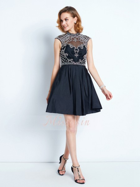 A-Line/Princess Short/Mini Beading High Neck Satin Sleeveless Dresses