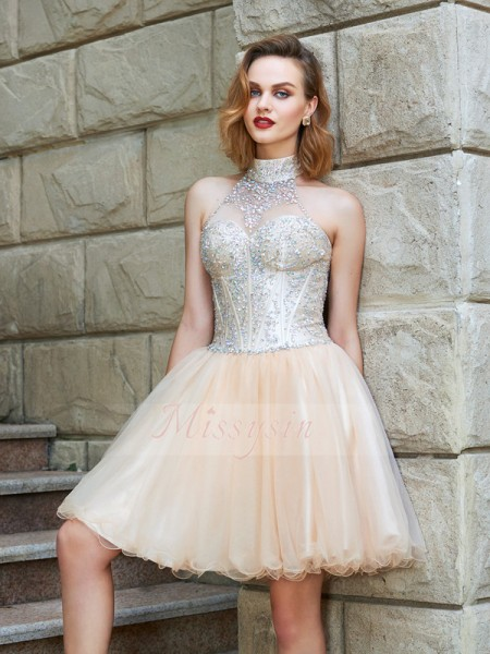 A-Line/Princess Short/Mini Beading Halter Net Sleeveless Dresses