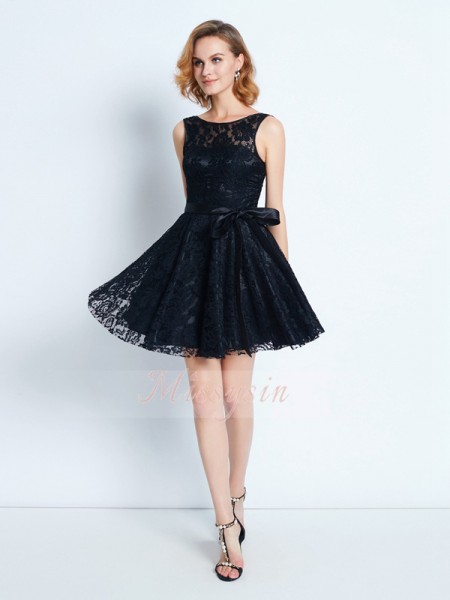 A-Line/Princess Sleeveless Short/Mini Sash/Ribbon/Belt Scoop Lace Dresses
