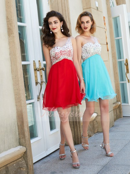A-Line/Princess Sleeveless Beading One-Shoulder Chiffon Short/Mini Dresses