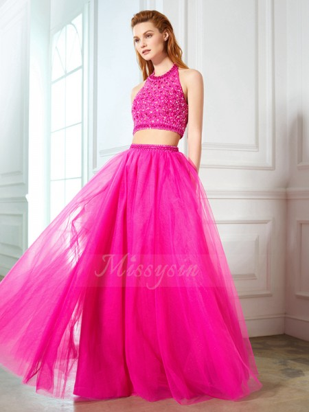 A-Line/Princess Halter Sleeveless Net Beading Floor-Length Two Piece Dresses