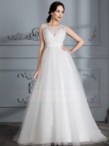 A-Line/Princess V-neck Sweep/Brush Train Sleeveless Ivory Tulle Wedding Dresses