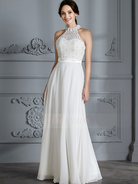 A-Line/Princess Sleeveless Floor-Length Scoop Ivory Chiffon Wedding Dresses