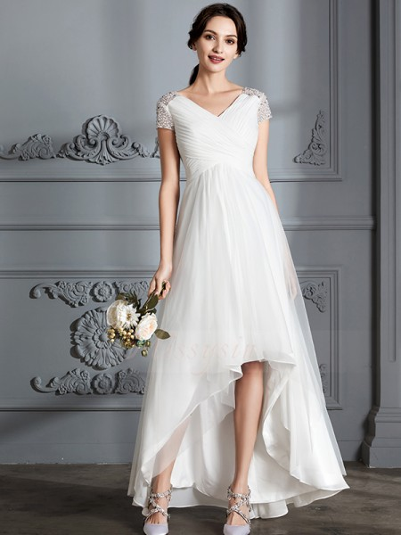 A-Line/Princess V-neck Short Sleeves Asymmetrical Ivory Tulle Wedding Dresses