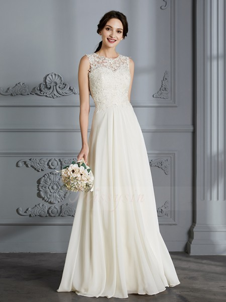 A-Line/Princess Scoop Sleeveless Ivory Chiffon Floor-Length Wedding Dresses