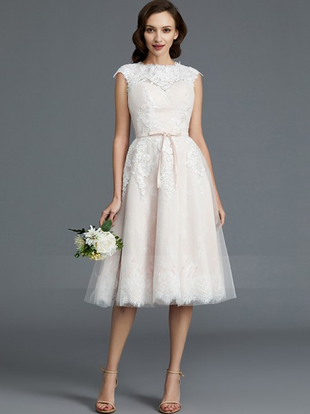 A-Line/Princess Bateau Sleeveless Ivory Knee-Length Tulle Wedding Dresses