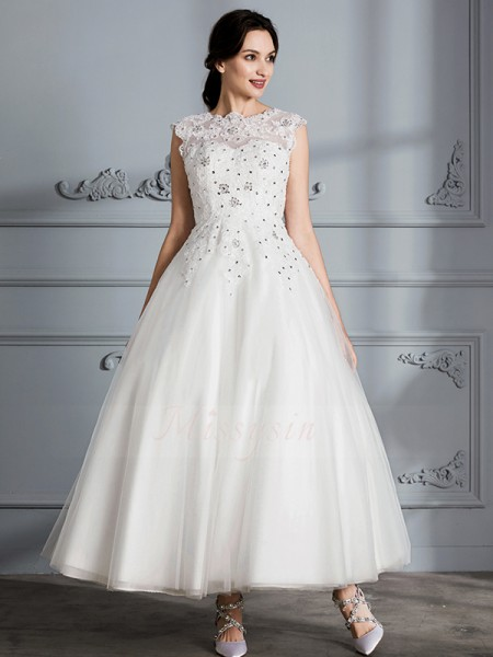 Ball Gown Scoop Sleeveless Ivory Tulle Tea-Length Wedding Dresses