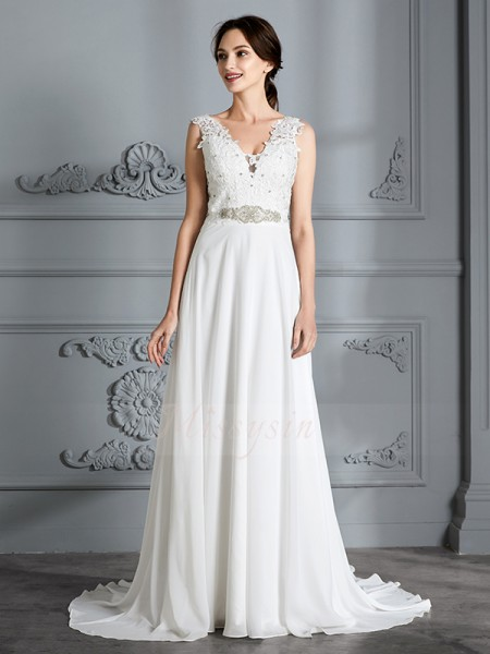 A-Line/Princess V-neck Sleeveless Ivory Sweep/Brush Train Chiffon Wedding Dresses