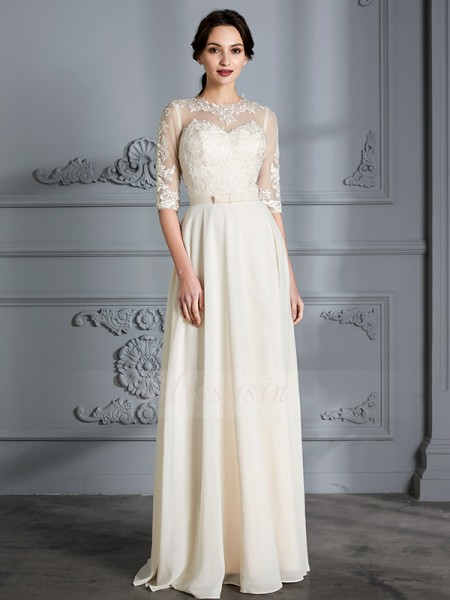 A-Line/Princess Scoop 1/2 Sleeves Ivory Chiffon Floor-Length Wedding Dresses
