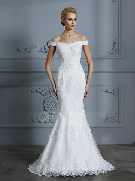Trumpet/Mermaid Off-the-Shoulder Sleeveless Ivory Tulle Sweep/Brush Train Wedding Dresses