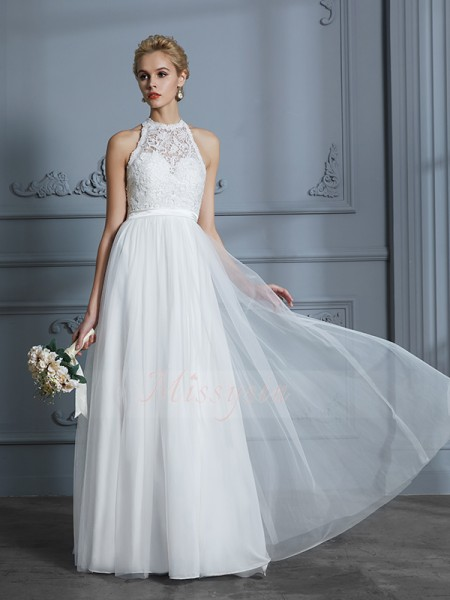 A-Line/Princess Scoop Sleeveless Ivory Tulle Floor-Length Wedding Dresses
