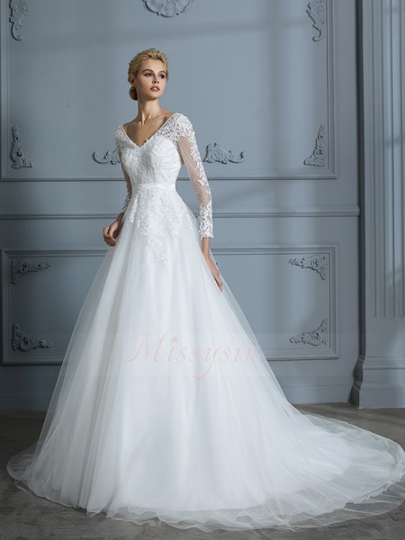 Ball Gown Court Train Long Sleeves Ivory Tulle V-neck Wedding Dresses