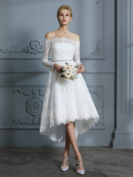 A-Line/Princess Off-the-Shoulder Asymmetrical Long Sleeves Ivory Lace Wedding Dresses