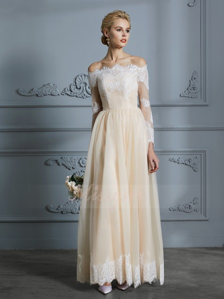 A-Line/Princess Off-the-Shoulder Long Sleeves Floor-Length Champagne Tulle Wedding Dresses