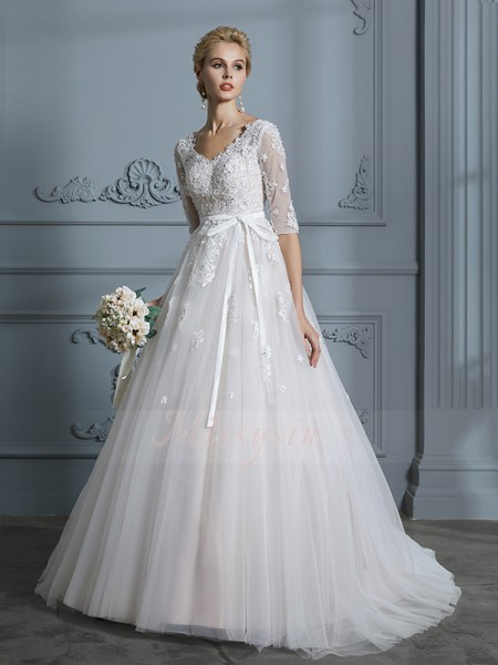 Ball Gown V-neck 1/2 Sleeves Court Train Ivory Tulle Wedding Dresses