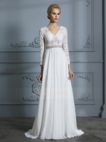 A-Line/Princess V-neck 3/4 Sleeves Ivory Chiffon Sweep/Brush Train Wedding Dresses