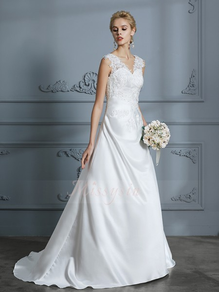 A-Line/Princess V-neck Sleeveless Ivory Satin Sweep/Brush Train Wedding Dresses