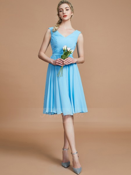 A-Line/Princess Sleeveless Ruched Short/Mini Chiffon V-neck Bridesmaid Dresses