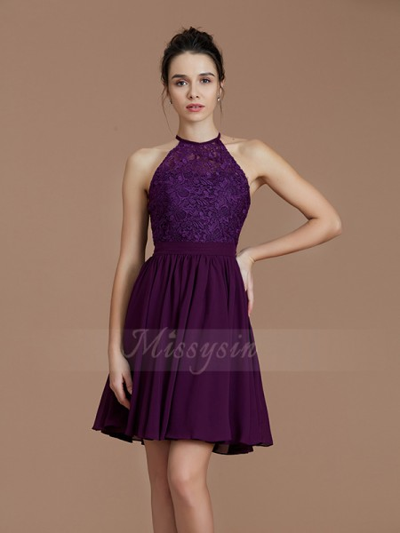 A-Line/Princess Sleeveless Short/Mini Chiffon Halter Bridesmaid Dresses