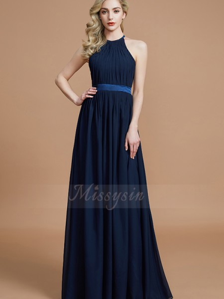 A-Line/Princess Sleeveless Ruched Floor-Length Chiffon Halter Bridesmaid Dresses