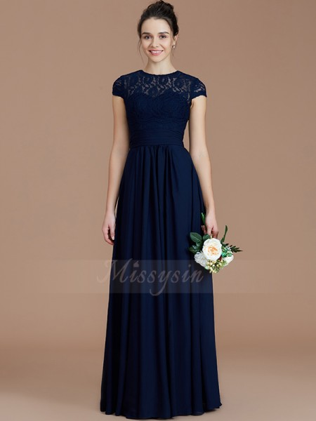 A-Line/Princess Short Sleeves Floor-Length Chiffon Jewel Bridesmaid Dresses