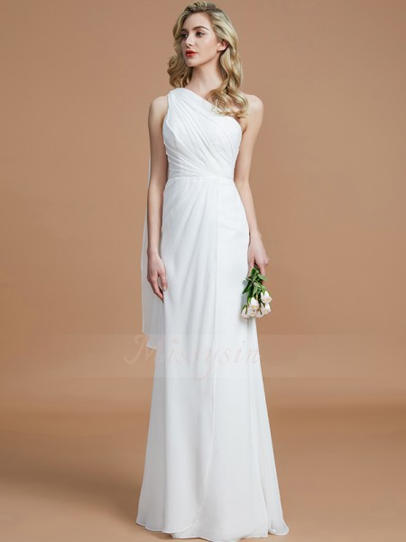 Sheath/Column Sleeveless Floor-Length Chiffon One-Shoulder Bridesmaid Dresses