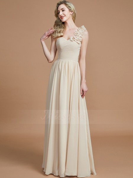 A-Line/Princess Sleeveless Floor-Length Chiffon One-Shoulder Bridesmaid Dresses