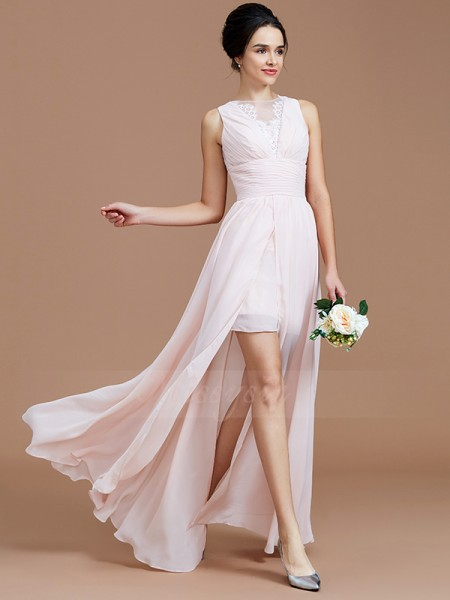 A-Line/Princess Sleeveless Ruched Floor-Length Chiffon Jewel Bridesmaid Dresses