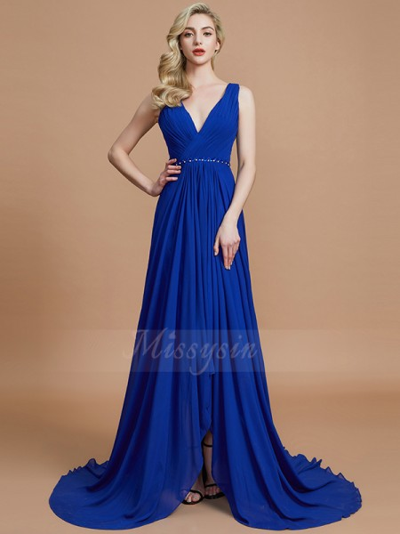 A-Line/Princess Sleeveless Sweep/Brush Train Chiffon V-neck Bridesmaid Dresses