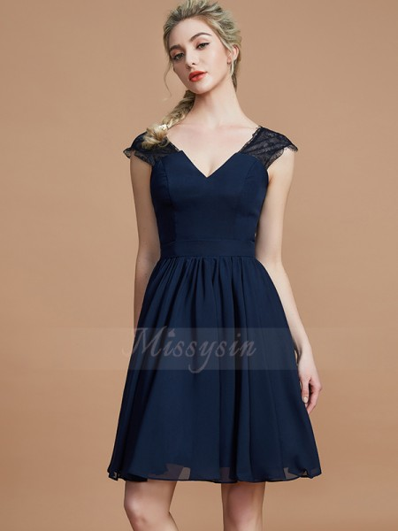 A-Line/Princess Sleeveless Knee-Length Chiffon V-neck Bridesmaid Dresses