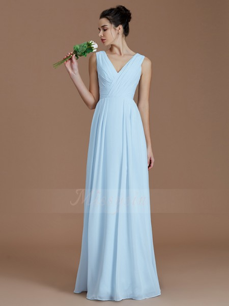 A-Line/Princess Sleeveless Ruched Floor-Length Chiffon V-neck Bridesmaid Dresses