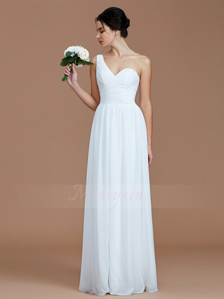 A-Line/Princess Sleeveless Ruched Floor-Length Chiffon One-Shoulder Bridesmaid Dresses