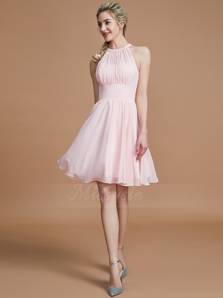 A-Line/Princess Sleeveless Knee-Length Chiffon Scoop Bridesmaid Dresses