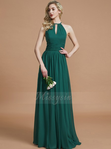 A-Line/Princess Sleeveless Floor-Length Chiffon Scoop Bridesmaid Dresses