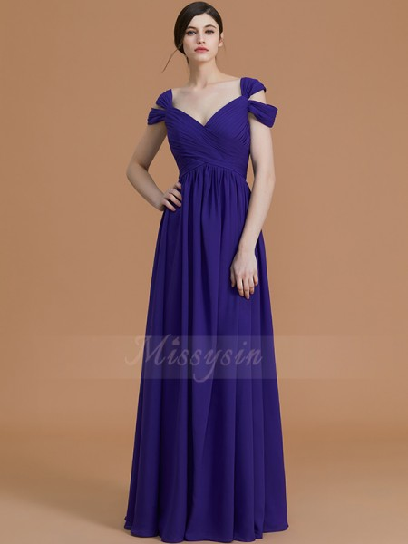 A-Line/Princess Sleeveless Ruched Floor-Length Chiffon Off-the-Shoulder Bridesmaid Dresses