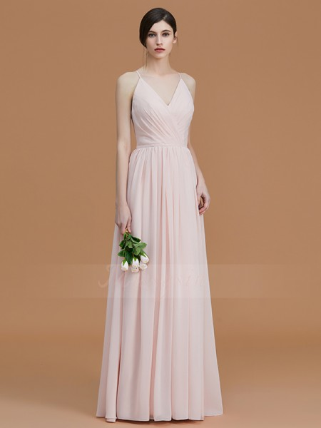 A-Line/Princess Sleeveless Ruched Floor-Length Chiffon Spaghetti Straps Bridesmaid Dresses