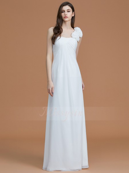 A-Line/Princess Sleeveless Hand-Made Flower Floor-Length Chiffon One-Shoulder Bridesmaid Dresses