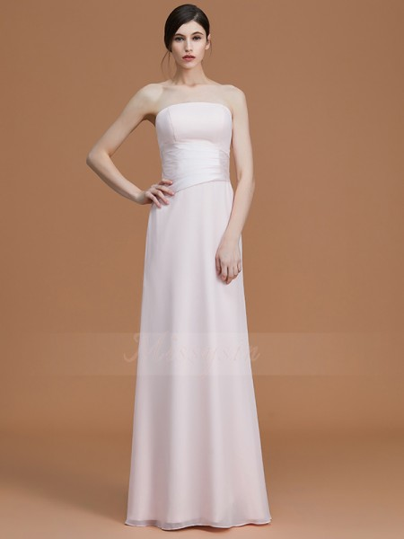 A-Line/Princess Sleeveless Ruched Floor-Length Chiffon Strapless Bridesmaid Dresses
