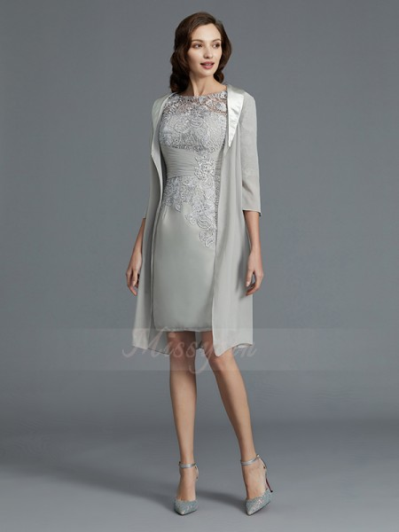 Sheath/Column Short/Mini Scoop Chiffon 1/2 Sleeves Mother of the Bride Dresses